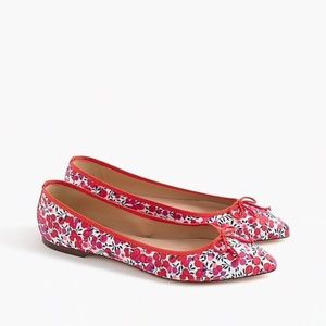 J Crew Gemma Floral Flats with Bow Red Size 6 New